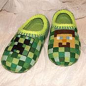 Обувь ручной работы. Ярмарка Мастеров - ручная работа Тапочки Майнкрафт. Handmade.