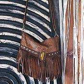 Сумки и аксессуары handmade. Livemaster - original item Bag leather brown Boho Tiger eye. Handmade.