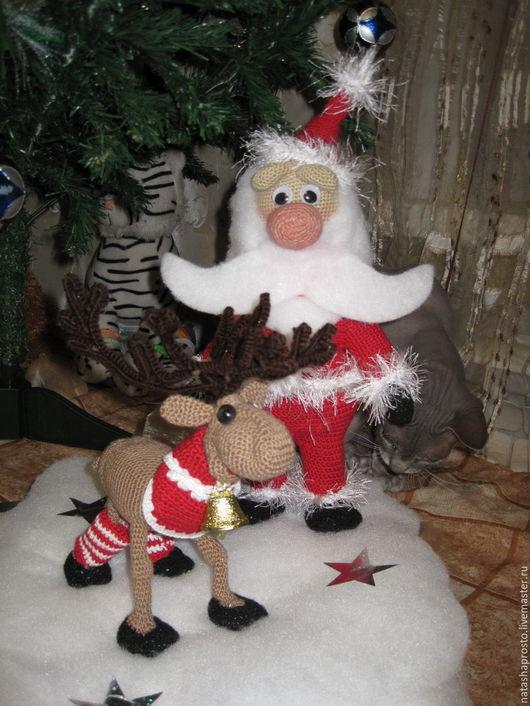 Сказочные персонажи ручной работы. Ярмарка Мастеров - ручная работа. Купить Санта и олень Рудольф.. Handmade. Комбинированный, зима, пенопласт