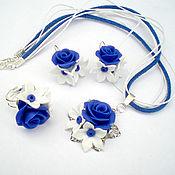"""Украшения ручной работы. Ярмарка Мастеров - ручная работа комплект """"Синяя роза"""". Handmade."""