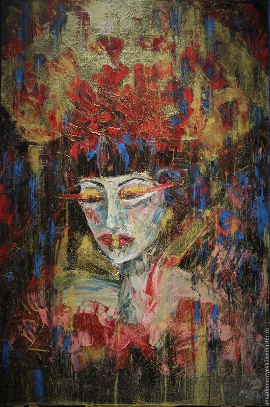 """Люди, ручной работы. Ярмарка Мастеров - ручная работа. Купить картина """"Незнакомка"""", живописьКартина для интерьера. Handmade. Комбинированный, подарок для девочки"""