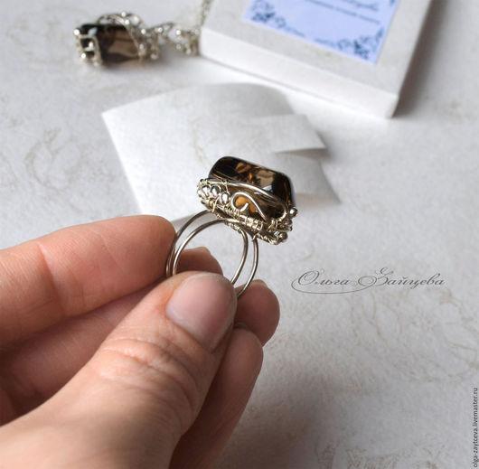 """Кольца ручной работы. Ярмарка Мастеров - ручная работа. Купить Кольцо с раухтопазом """"CINEMA"""",дымчатый кварц, крупное кольцо. Handmade."""