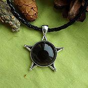 Фен-шуй и эзотерика handmade. Livemaster - original item Amulet Pentagram with black obsidian. Handmade.