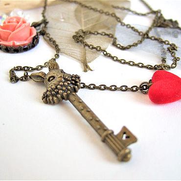 Decorations handmade. Livemaster - original item Pendant Key to Wonderland Alice in Wonderland Rabbit rose Boho. Handmade.