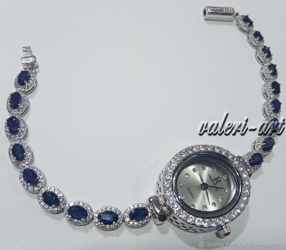 Часы браслет с сапфирами из серебра, Часы наручные, Москва,  Фото №1
