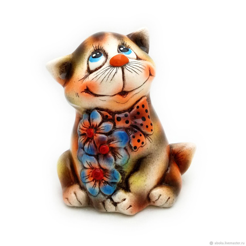 """Керамическая статуэтка """"Котик с цветами"""" – заказать на ..."""