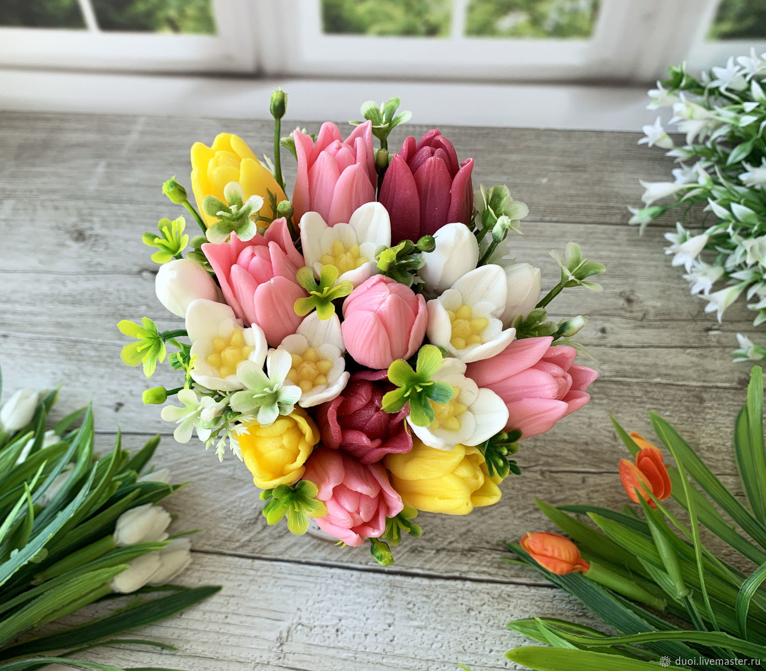 Soap bouquet in a glass Tulips and snowdrops, Soap, Moscow,  Фото №1