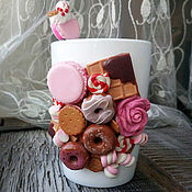 Сувениры и подарки handmade. Livemaster - original item Mug set with spoon decor sweet. Gift for a sweet tooth.. Handmade.