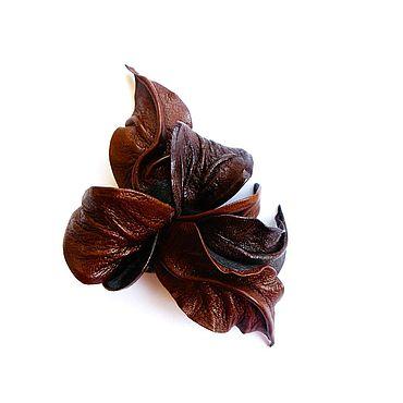 """Украшения ручной работы. Ярмарка Мастеров - ручная работа Заколка зажим малый """"Темный Каньон"""" коричневый маленький. Handmade."""