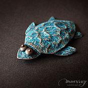 """Украшения ручной работы. Ярмарка Мастеров - ручная работа Медная брошь """"Морская черепаха"""" украшение, медное украшение, море. Handmade."""