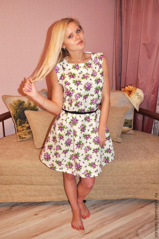 Платья ручной работы. Ярмарка Мастеров - ручная работа. Купить Летнее платье с розами. Handmade. Фиолетовый, лён
