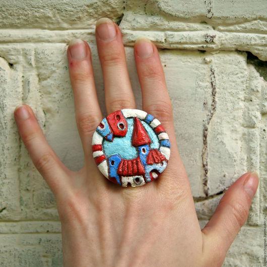 Кольца ручной работы. Ярмарка Мастеров - ручная работа. Купить Колечко со старинным городом. Handmade. Голубой, крыши, красный