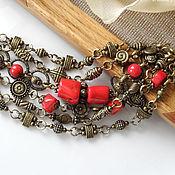 Украшения ручной работы. Ярмарка Мастеров - ручная работа браслет Кораллы в Бронзе, женский бронзовый коралловый браслет,. Handmade.