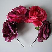 """Украшения ручной работы. Ярмарка Мастеров - ручная работа Ободок """"Малиновые розы"""". Handmade."""