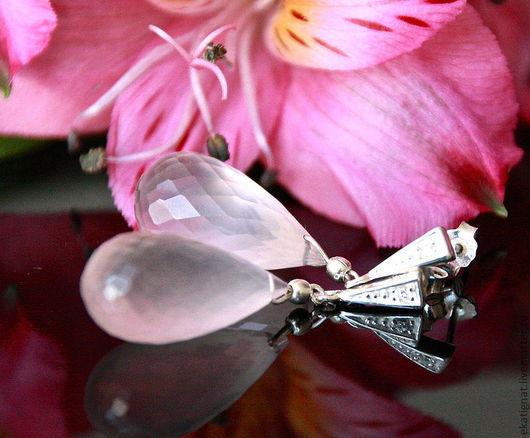 Серьги ручной работы. Ярмарка Мастеров - ручная работа. Купить Серебряные серьги с натуральным розовым кварцем.. Handmade. Бледно-розовый