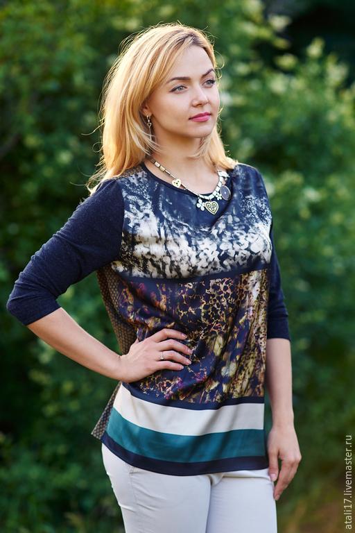 Блузки ручной работы. Ярмарка Мастеров - ручная работа. Купить Блуза- шелк/трикотаж. Handmade. Разноцветный, орнамент, серый