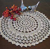 Для дома и интерьера handmade. Livemaster - original item Crochet napkin round openwork beige gift for home cottages. Handmade.