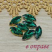 Материалы для творчества handmade. Livemaster - original item Glass rhinestones 18h9 mm Emerald in silver and gold frames. Handmade.
