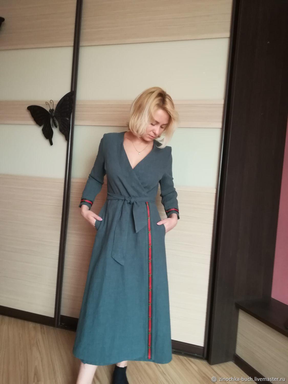 1706c52eafb ... Платья ручной работы. Платье с запахом из вареной крапивы с тесьмой  Элегантность. Оксана Медведская ...