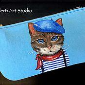 """Сумки и аксессуары ручной работы. Ярмарка Мастеров - ручная работа Косметичка """"Cat Sailor"""" blue. Handmade."""