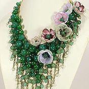 Украшения handmade. Livemaster - original item Sea Parfait. Choker, removable floral decor - textile flowers. Handmade.