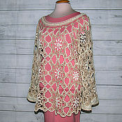 Одежда handmade. Livemaster - original item blouse: Blouson Oversize Crochet Tea Rose... Handmade.