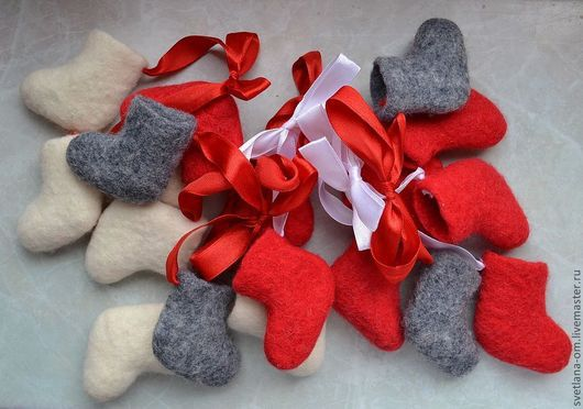 Новый год 2017 ручной работы. Ярмарка Мастеров - ручная работа. Купить Сувенирные валеночки. Handmade. Ярко-красный, Сувенирные валенки