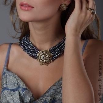"""Колье, бусы ручной работы. Ярмарка Мастеров - ручная работа. Купить """"АМАЗОНКА"""" ожерелье из синего жемчуга. Handmade. Тёмно-синий"""