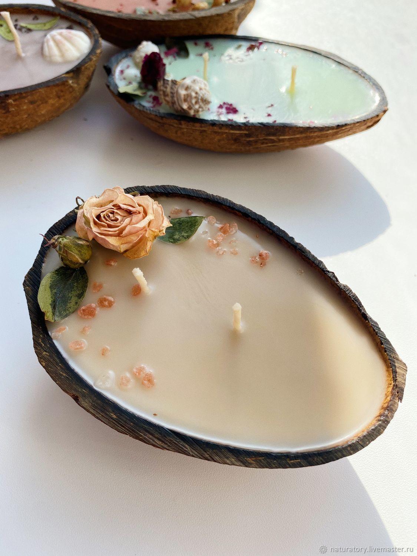 Свеча соевая в кокосе «Тропический остров», Свечи, Новосибирск,  Фото №1