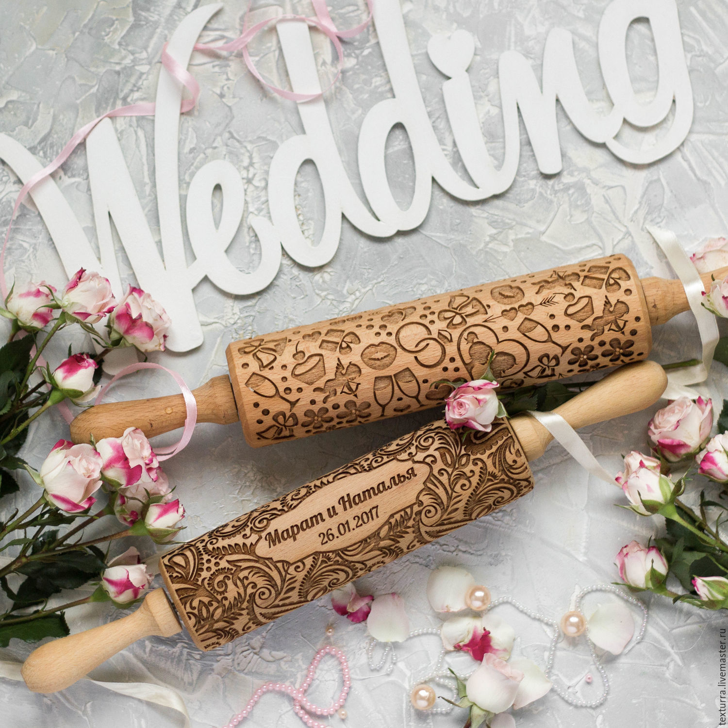 Customized Gifts handmade. Livemaster - handmade. Buy WEDDING - Embossing rolling pin, laser engraved rolling pin/ Texturra.