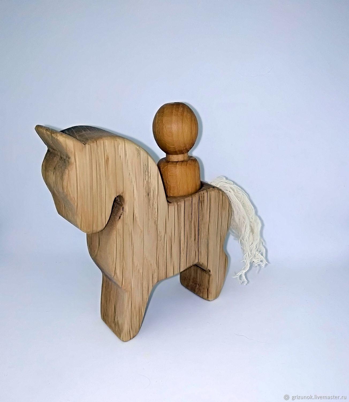Всадник на коне деревянная игрушка, Вальдорфские куклы и звери, Москва,  Фото №1