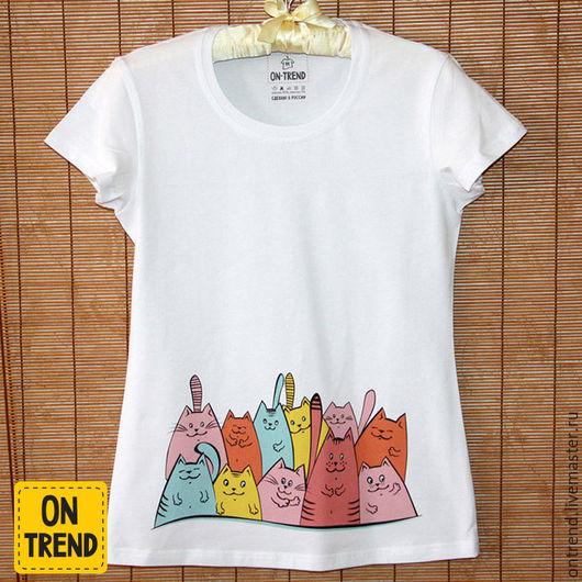 """Футболки, майки ручной работы. Ярмарка Мастеров - ручная работа. Купить Женская футболка """"Разноцветные Коты """"  (713). Handmade."""