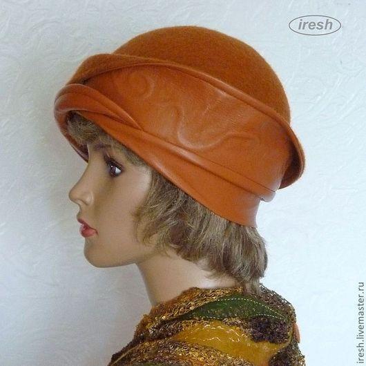 """Шляпы ручной работы. Ярмарка Мастеров - ручная работа. Купить Шляпа """"Терракотовая"""" валяная, кожаная.. Handmade. Рыжий, авторская модель"""