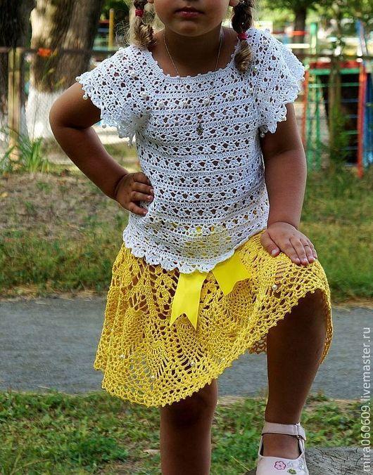 Одежда для девочек, ручной работы. Ярмарка Мастеров - ручная работа. Купить Ажурные топик и юбка крючком, вязаныт топ,вязаная юбка. Handmade.