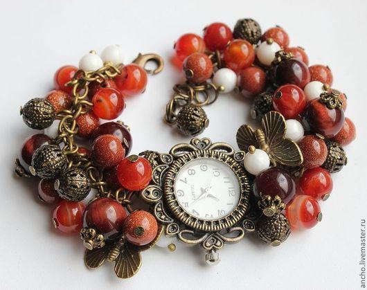 """Часы ручной работы. Ярмарка Мастеров - ручная работа. Купить Часы """"Осень"""". Handmade. Коричневый, часы-браслет, часы кварцевые"""