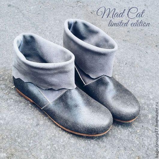 Обувь ручной работы. Ярмарка Мастеров - ручная работа. Купить Сапожки из натуральной кожи и замши. Handmade. Серый, сапоги женские