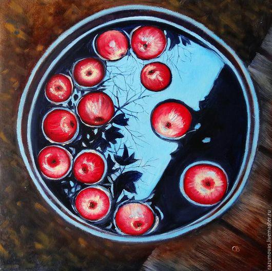 Натюрморт ручной работы. Ярмарка Мастеров - ручная работа. Купить Яблоки в бочке. Handmade. Комбинированный, красный
