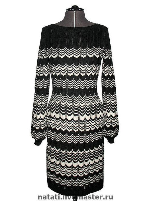 Платья ручной работы. Ярмарка Мастеров - ручная работа. Купить Платье черно-белое в стиле Миссони. Handmade. Вязаное платье