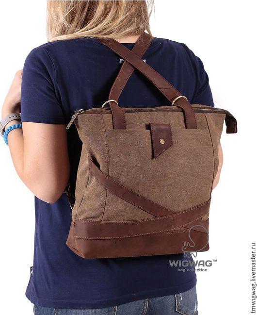 Женские сумки ручной работы. Ярмарка Мастеров - ручная работа. Купить Женская сумка коричневого цвета, трансформирующаяся в рюкзак. Handmade.