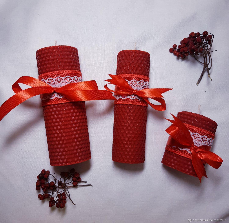 Набор из трех красных свечей, Свечи, Калининград,  Фото №1