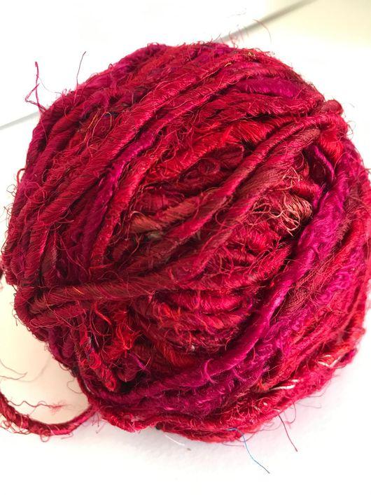 Вязание ручной работы. Ярмарка Мастеров - ручная работа. Купить Индийский шелк САРИ красно-малиновый. Handmade. Шелк натуральный