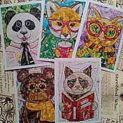 набор почтовых открыток весёлые зверята
