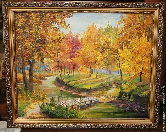 """Пейзаж ручной работы. Ярмарка Мастеров - ручная работа. Купить Картина """"Осенний лес"""". Handmade. Желтый, пейза, река"""