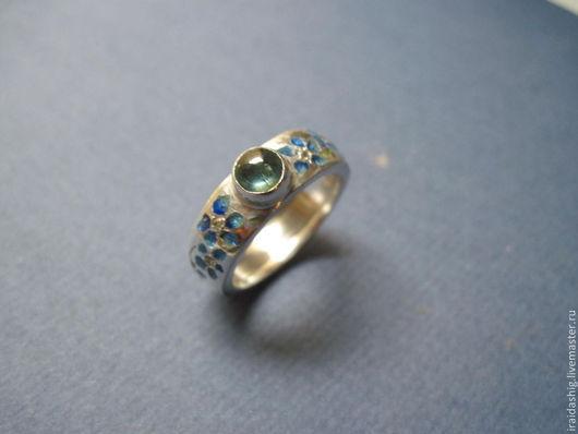 """Кольца ручной работы. Ярмарка Мастеров - ручная работа. Купить кольцо """"васильки"""" с сапфирами. Handmade. Тёмно-синий, кольцо с сапфиром"""