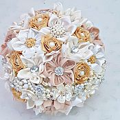 Свадебный салон handmade. Livemaster - original item Wedding gold brooch bouquet made of fabrics handmade. Handmade.
