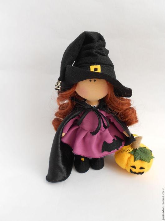 Коллекционные куклы ручной работы. Ярмарка Мастеров - ручная работа. Купить Текстильная кукла- малышка. Ведьмочка. Handmade. Фиолетовый, тыква