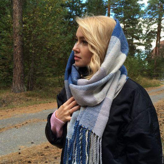 Шарфы и шарфики ручной работы. Ярмарка Мастеров - ручная работа. Купить шарф тканый шарф палантин в клетку (синий, серый, бежевый) теплый. Handmade.