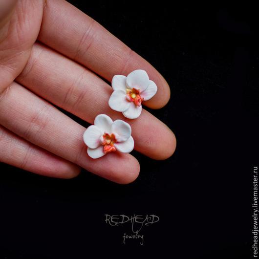Серьги ручной работы. Ярмарка Мастеров - ручная работа. Купить Орхидеи. Handmade. Орхидея, серьги с цветами, нежное украшение
