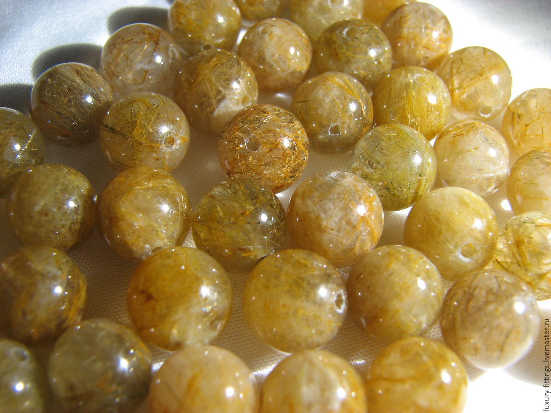 Rutilated quartz beads 8 mm, Beads1, Moscow,  Фото №1