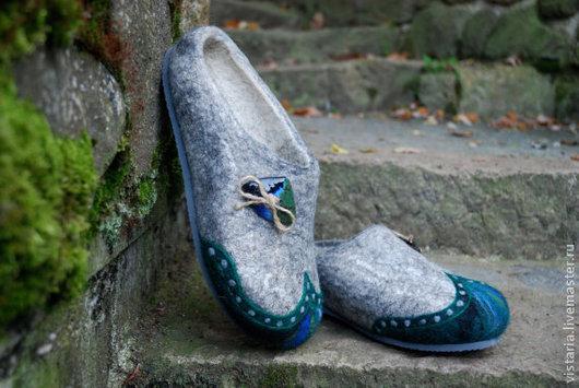 Обувь ручной работы. Ярмарка Мастеров - ручная работа. Купить Тапочки 42 «Деревенские». Handmade. Серый, шерсть 100%